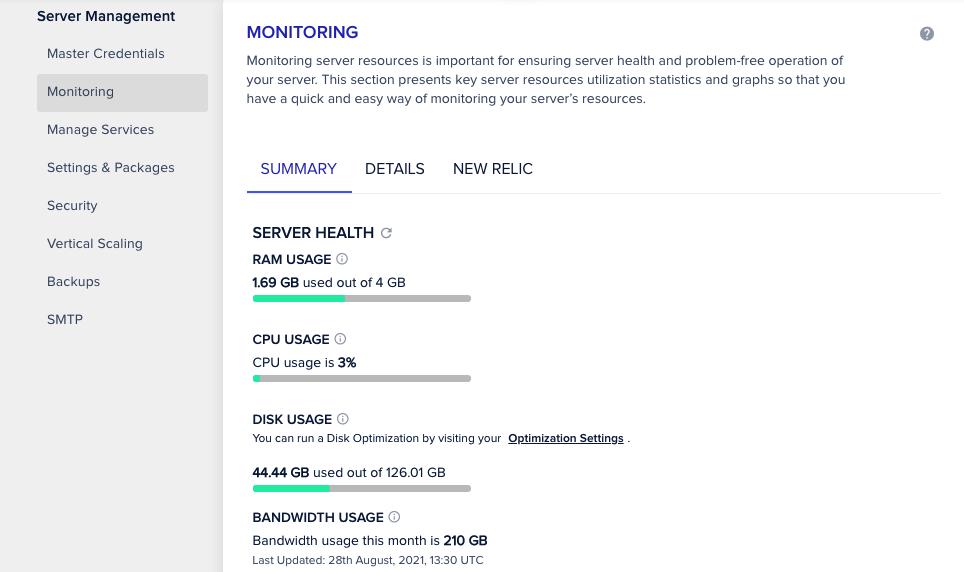 Server monitoring panel