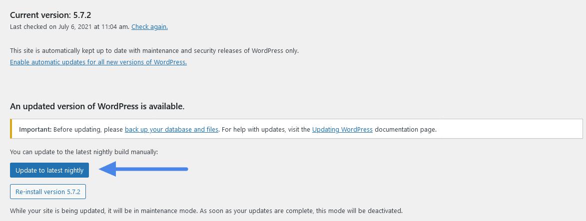 Wordpress_Beta_Update